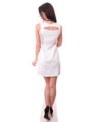 White Dress with Embossed Retro Flowers, Lace Sides & Cutout Back!