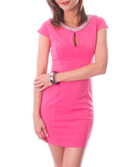 Hi Cut & Classy Form Fitting Dress with Jeweled Neckline!