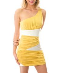 95% Rayon! One Shoulder Yellow & White Bodycon Dress.