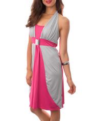 65% Cotton! Pink & Grey Halter Dress.