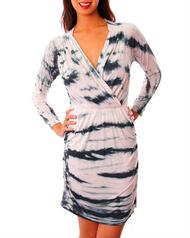 Wrap Around Long Sleeve Dress with Cutout Back! Black/Blush.