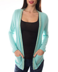 96% Rayon! Long Sleeve Cardigan with Gold Chain Trim! Light Teal Blue.