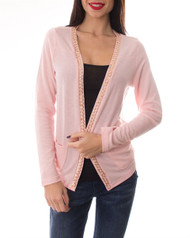 96% Rayon! Long Sleeve Cardigan with Gold Chain Trim! Pink.