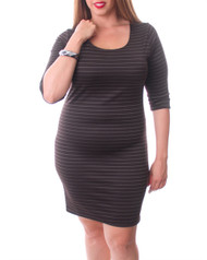 PLUS SIZE DRESS. 3/4 Sleeve Scoop Neck with Micro Stripes. Dark Brown.