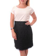 PLUS SIZE DRESS HAS Lace Skirt & Long Zipper. Black / Ivory White.
