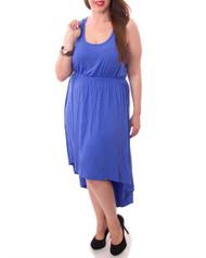 PLUS SIZE MAXI DRESS. 95% Rayon. Blue.