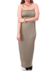 PLUS SIZE MAXI DRESS is Strapless & 100% Rayon! Mocha Latte.