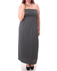 PLUS SIZE MAXI DRESS is Strapless & 100% Rayon! Charcoal Grey.