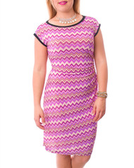 Belted Dress in Purple Chevron Print!