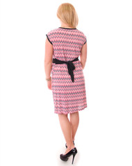 Belted Dress in Red & Black Chevron Print!