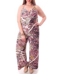 PLUS SIZE Pink Leopard Long, Full Length Romper / Jumpsuit!