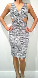 Black & White Aztec Print Bodycon Dress with Sexy Cutouts!