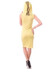 Lightweight Sleeveless Tank Dress with Gold Stripe Hoodie and Long Zipper! Butter Yellow.