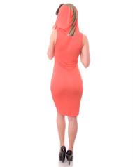 Lightweight Sleeveless Tank Dress with Gold Stripe Hoodie and Long Zipper! Coral Orange.