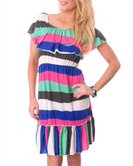 Ruffled Peplum Dress! Pink / White Multi Stripes.