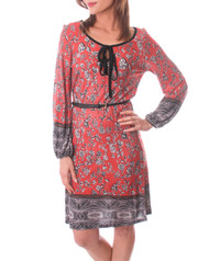 ADORABLE SHIFT DRESS IN RUST FLORAL PRINT TIES AT NECK!
