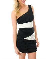95% Rayon! One Shoulder Black & White Bodycon Dress.