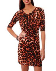Rust Orange Leopard Dress with Subtle Cowl Neck!
