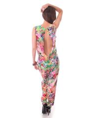 100% Cotton! Pink Floral Long Romper / Jumpsuit! Open, Cutout Back!