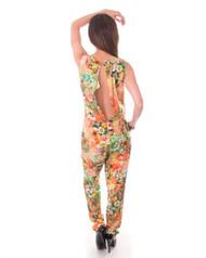 100% Cotton! Orange Floral Long Romper / Jumpsuit! Open, Cutout Back!