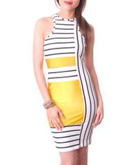 Hi-Cut Yellow Striped Bodycon! Classic & Classy!