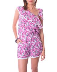 100% Cotton! Off-the-Shoulder Romper / Jumper in Pink Ditsy Floral.