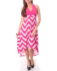 Pink & White Chevron Halter Maxi Dress!