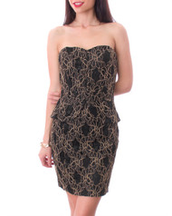 Strapless Black Dress with Peplum and Embroidered Floral Pattern.