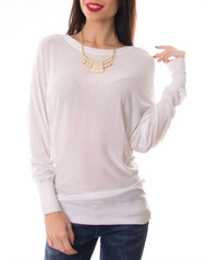 Lightweight  Cardigan Style Top with Scoop Neck Back! White.