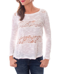 White Lace Long Sleeve Top!