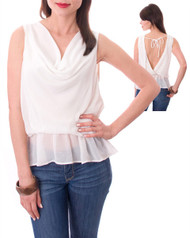 White Top with Cowl Neck, Peplum, and Open Back!