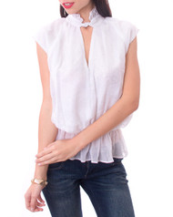 White Peasant Top with Peplum, Buttons in Back.