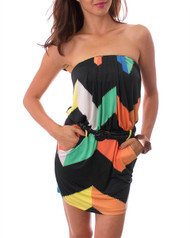 Strapless, Belted Black Dress with Coral & Mint!