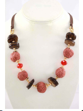 Necklace & Earrings Set! Boho Distressed Stones. Santa Fe Red Rocks Coral.