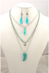 3-Layer Chain Necklace with 'Turquoise Shark's Tooth' and Earrings!