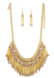 Boho-Chic Beads & Tassels Necklace & Earrings Set! Colors: Blush.