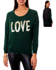 Long Sleeve Top with Gold Glittery LOVE Print and Sheer Back! Green / Black.