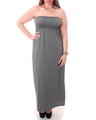 PLUS SIZE MAXI DRESS is Strapless & 100% Rayon! Grey.
