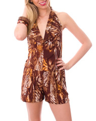 Brown Animal Print Romper / Jumper with Halter Top and Open Back!