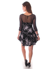 Black Dress with White Floral Print and Mesh Lace Long Sleeves!