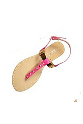 Single Strap Sandals with Metallic Crossover that has Subtle Skulls! Fuchsia / Pink.