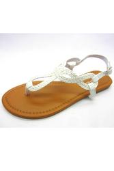 White Braided Loop Sandals! White.