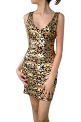 Black Bodycon Dress with Gold Foil and Cutout Back!