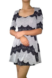 Grey Fit & Flare Dress with Black Tattoo Lace.