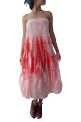 100% Cotton MAXI DRESS. Coral Tie Dye! (Doubles as Maxi Skirt!)