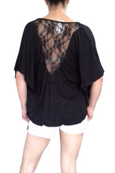 PLUS SIZE Lace Top from Ambiance Apparel is 100% Rayon! Black.