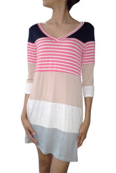 Tunic Dress with V-Neck. Navy & Mocha with Coral Stripes! 95% Rayon.