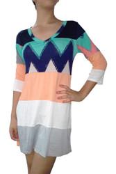 95% Rayon Tunic Dress with Half Sleeves and Aztec / Chevron Print!