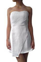 White on White Floral Pattern Strapless Dress!