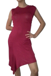 Sleeveless Red Dress with Asymmetrical Cut is 97% Rayon!
